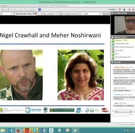 Dominic Stucker introducing speakers Nigel Crawhall and Meher Noshirwani